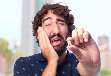 Man with emergency dental problems